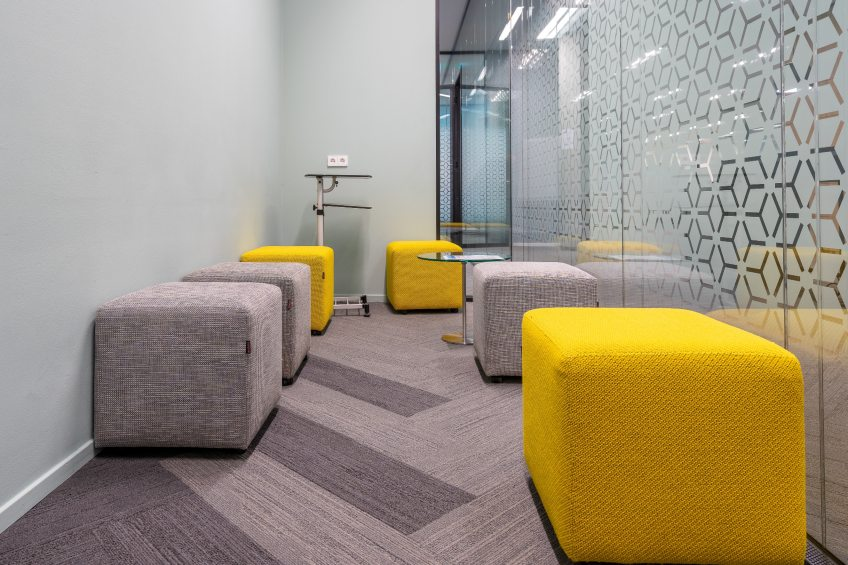 modern office space with decorative window film